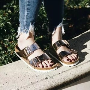 Birkenstock Arizona Sandals Copper Rose Gold